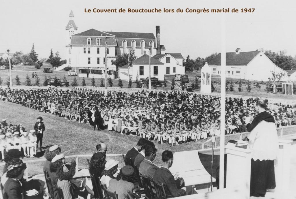 1947-Congres marial en plein air devant couvent de Bouctouche- legende